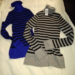 Spense Knits Ribbed Striped Turtleneck Sweaters